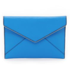 Rebecca Minkoff Leo Clutch ($96) ❤ liked on Polyvore featuring bags, handbags, clutches, denim blue, blue leather purse, leather handbags, real leather handbags, rebecca minkoff clutches and rebecca minkoff