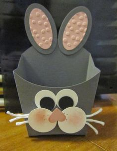 Say hello to this cute little fry box bunny. I cut the box using Basic Gray cardstock. Then just added some punch art pieces ...
