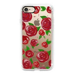 Red Roses Watercolor Phone Case - iPhone 6s Case,iPhone 6 Case,iPhone... (53 CAD) ❤ liked on Polyvore featuring accessories, tech accessories, iphone case, iphone cases, iphone cover case, apple iphone cases, red iphone case and clear iphone cases