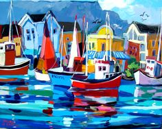 Waterfront with red boats Bright Colors Art, South African Artists, Sea World, Art Oil, All Art, Art Images, Modern Art, Tropical, Paintings