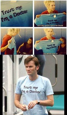 So THAT'S where he got the shirt! I love how Billie Piper and David Tennant are besties <3 | Doctor Who