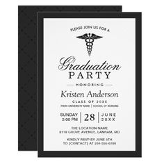 187 best medical school graduation invitations images on pinterest caduceus symbol medical school graduation party invitation filmwisefo