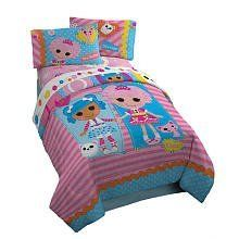 """Lalaloopsy Twin Comforter Set Includes Comforter Pillow Sham & Bedskirt by Lalaloopsy. $64.99. It is made of super soft microfiber that is machine washable for easy care.. The colorful and playful Lalaloopsy characters are beautifully printed with touches of applique and real sewn on button eyes that perfectly embellish this playful bed.. Lalaloopsy Twin Comforter bed set includes a 64x86 twin comforter, a 20x26 sham with a 2"""" decorative flange and a 39x75x14 mathread..."""