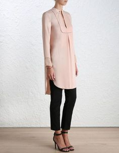 Baton Tunic Shirt, from our Spring 16 collection, in Peony crepe. Mandarin collar with gold baton bar closure. Ladder insert trim through yoke and at sleeve cuff. Long tunic top with curved hem and extended length through back. Silk georgette detail at cuffs.
