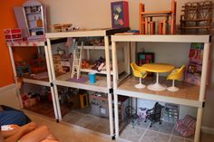 DIY American Girl doll house - The possibilities are endless. My daughter uses a mix of some AG purchases with lots of her own creations and items found at other stores.