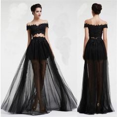 Black Two Pieces Off Shoulder Tulle Lace Party Cocktail Evening Long Prom Dresses Online,PD0171