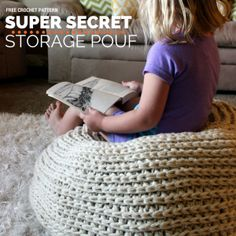 A pattern for a crochet floor pouf/ottoman that doubles as storage! Stuff it with spare blankets or stuffed animals or anything else you can think of and maximize your space.not to mention all the money you'll save by not having to buy stuffing ; Crochet Pouf, Crochet Cushions, Crochet Gifts, Yarn Projects, Crochet Projects, Crochet For Kids, Free Crochet, Crochet Storage, Diy Storage Pouf