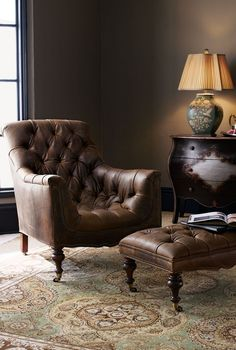 Ottomans : Modern Tufted Leather Reading Chair With Ottoman And Overstuffed Lounge Comfy Chairs For Bedroom Green Gray Living Room Furniture Oversized Armchair Comfortable reading chair and ottoman Living Room Chairs, Living Room Furniture, Home Furniture, Living Room Decor, Vintage Furniture, Country Furniture, Country Decor, Dining Chairs, Furniture Outlet