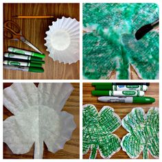 Here is what you need: coffee filters pencil sicsors green markers paint br Coffee Filter Art, Coffee Filter Crafts, Coffee Crafts, Coffee Filters, March Crafts, St Patrick's Day Crafts, Holiday Crafts, Easy Crafts, Kindergarten Crafts
