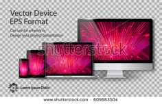 Realistic Computer Monitor, Laptop, Tablet and Smart Phone with Technology Screen Isolated on Transparent Background. Can Use for Template Project Presentation. Electronic Gadget, Device Mockup Set.
