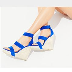 Steve Madden Blue espadrille wedges  NWT! Gorgeous and totally pop any outfit! Blue genuine suede upper & espadrille platform!  No trades!! Firm price!! Steve Madden Shoes Wedges