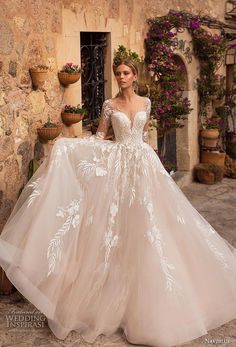 naviblue 2019 bridal long sleeves deep sweetheart neckline heavily  embellished bodice romantic glamorous blush a line wedding dress sheer  button back chapel ... 0e30febac343