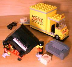 Custom Movers Truck for Town City Train Moving Company Van Gift Set Lego Piano | eBay