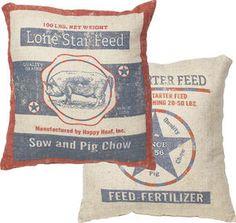 Vintage Sheeps Lonestar Feed Sack Pillow                              …