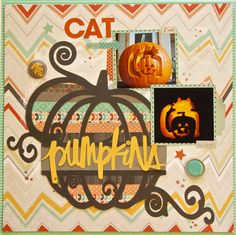 Cat Pumpkins - Scrapbook.com - Use a Silhouette Cameo to create word art for titles.