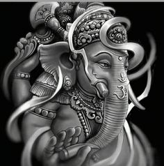 Make this Ganesha Chathurthi 2020 special with rituals and ceremonies. Lord Ganesha is a powerful god that removes Hurdles, grants Wealth, Knowledge & Wisdom. Lord Ganesha, Arte Ganesha, Shri Ganesh, Krishna Art, Hanuman, Ganesh Tattoo, Arm Tattoo, Sleeve Tattoos, Lotus Tattoo