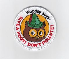 Woodsy Owl embroidered patch by FallsCreekOutfitters on Etsy