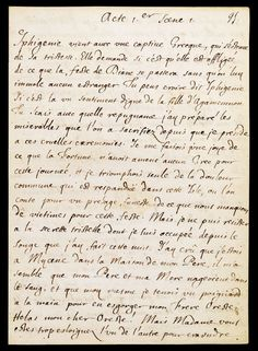 Manuscrit Jean Racine