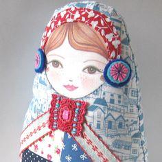 Matryoshka Patchwork Design Cloth Doll Amelia Jane by zouzoudesign,