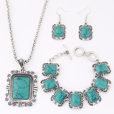 Turquoise Jewelry Sets, bracelet & earring & necklace, Zinc Alloy, with turquoise, with 5cm extender chain, Rectangle, antique silver color plated, lantern chain, lead & cadmium free, 480mm, Length:Approx 18.5 Inch, Approx 7 Inch,china wholesale jewelry beads