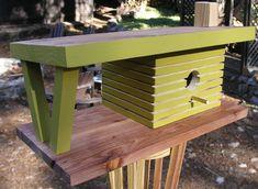 In Stock Mid Century Modern Birdhouse by MidCenturyWoodShop