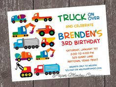 Construction Work Trucks Birthday Invitation with FREE Matching Return Address Labels. $1.00, via Etsy.