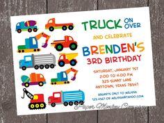 Construction Work Trucks Birthday Invitation with FREE Matching Return Address Labels. $1.00, via Etsy.