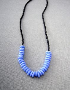 minimal jewelry blue and black beaded necklace by urbandwellers, $21.00