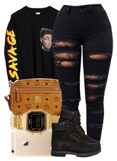 """""""young savage why you trappin so hard?"""" by trinsowavy ❤ liked on Polyvore featuring MCM, Casio and Timberland"""