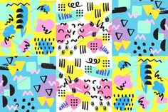 Universal memphis seamless pattern endless abstract fills style and surface textures colorful geometric ornament background vector illustration. by RocketArt on @creativemarket