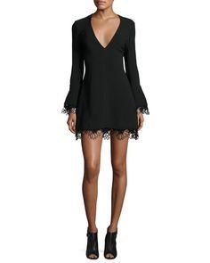 Jamie Lace-Trim Ponte Mini Dress, Black