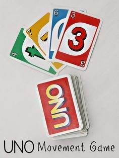 How to turn UNO into an indoor recess gross motor movement game for kids! Red - Hop Yellow - Stomp Green - Twirl Blue - Touch Elbows to Opposite Knees