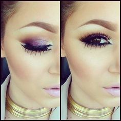 purple makeup look for brown eyes. Individual lashes? by fashionlady