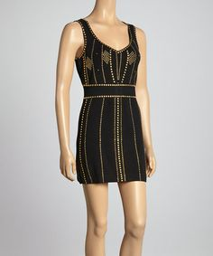 Love this Black & Gold Embellished Dress on #zulily! #zulilyfinds