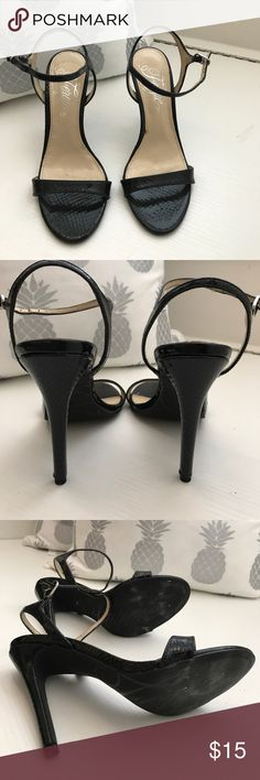Fergie heels size 5.5 patent leather snakeskin Great condition wore only 2/3 times. Fergie heels size 5.5 black patent leather snakeskin print. Fergie Shoes Heels