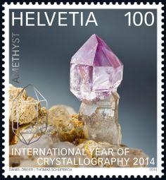 Swiss special stamp: International Year of Crystallography 2014 - «Amethyst» www.postshop.ch/philatelie