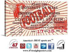 1937 #Oklahoma #OU #Sooners vs. #Texas #Longhorns #collegefootball ticket art on canvas. #47straight