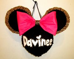 Personalized Leopard Trim Minnie Mouse Custom Pinata by PinataMama, $65.00