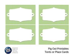 Free tent card printables designed by @Jessica Griffin for #GlueDots Summer BBQ Pig Out Theme! #partydecor