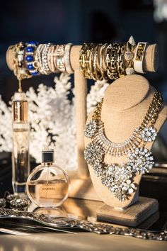 Rhinestones necklaces and bracelets on display