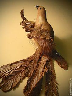 Купить Брошь Птичка из кожи и меха - бежевый, брошь из кожи и меха, из кожи и меха, украшение