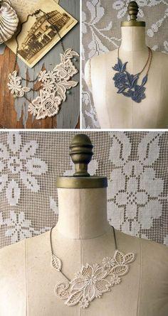 diy necklace: lace + fabric stiffener