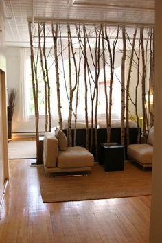 this makes me think it would be neat to have a huge mural on the walls in the entry of birch trees...high up you could actually mount branches on the wall