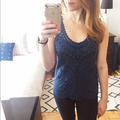 Baraschi Anthropologie Gossamer Birch Lace Top. SM Gorgeous lace top with mesh. Sleeveless with beautiful scalloped bottom. Very gently used. 100% nylon. Anthropologie Tops Tank Tops