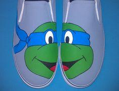 Hand Painted Ninja Turtles Vans Slip On Shoes by SceeneShoes, $70.00