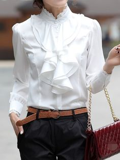 6183795e1b9481 Weiße Spitze Knöpfe Rüschen Stehkragen Langarm Elegantes Bluse mit Volants  Top Oberteile Damen Mode Schuhe Sale