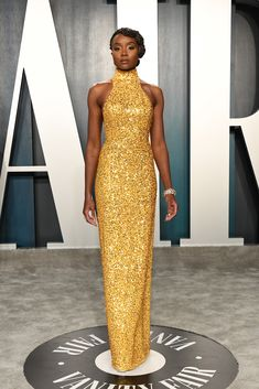 Kiki Layne attends the 2020 Vanity Fair Oscar Party hosted by Radhika Jones at Wallis Annenberg Center for the Performing Arts on February 2020 in Beverly Hills, California. Gold Dress, Yellow Dress, Dress Up, Ciara And Russell Wilson, Janet Mock, Star Fashion, Fashion Outfits, Look Star, Bridget Jones