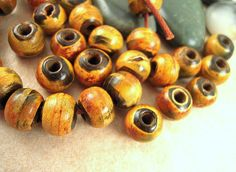 50 Horn Beads 10mm Burnt Brown Horn Beads Two by EthnicBeadShop, $4.90
