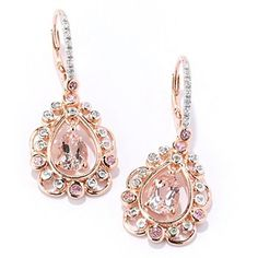 NYC II Morganite, White Zircon & Pink Tourmaline Teardrop Earrings