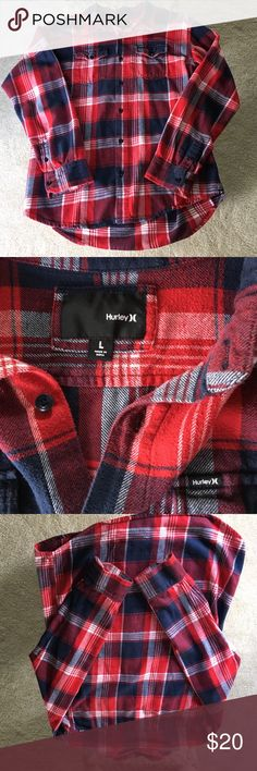 Hurley Flannel Hurley Flannel                                                              Color: Blue & Red        Size: L        Condition: Great Hurley Shirts Casual Button Down Shirts